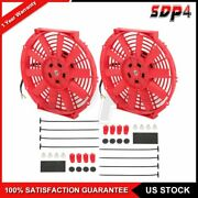 12 Volt Radiator Cooling Fan Assembly Universal 2pcs 10 Inch Push Pull Red