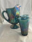 Blue Carnival Glass Pitcher And 2 Matching Glasses Glassware Vintage Glass Aqua