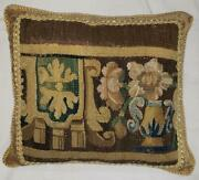 Vintage Bespoke Antique Tapestry Fragment Large Throw Pillow