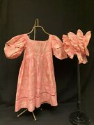 Antique Childand039s Dress With Matching Bonnet Early 19th Century Museum Quality