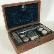 19th Century English Gentleman Traveling Kit W/ Sterling Cover