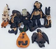 Primitive Grungy Halloween Family Witch Dracula Frankenstein Ghost Blk Cat Bat