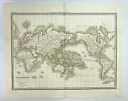 World Map Mercator's Projection 1832 By Lapie Large Antique Map 19th Century
