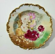 Tandv Limoges Hand Painted Shallow Plate/ Bowl Roses Gold Trim-signed