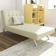 Chaise Lounger Sleeper Chair Off White Faux Leather Modern Office Small Spaces