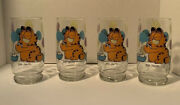 4 Vintage 1978 Garfield Glasses Garfield Blowing Yellow Purple And Blue Bubbles
