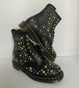 Dr. Martens 1460 Midas Smooth Leather Gold Studded Boots Size 8