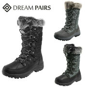 Dream Pairs Women Insulated Mid Calf Boots Faux Fur Lined Lace Up Snow Boots