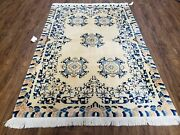 Antique Chinese Peking Area Rug 4x6 Ivory And Blue Hand-knotted 1920s Art Deco Rug