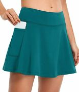 Fulbelle Womens Athletic Tennis Skirts Elastic Golf Skorts With Pockets
