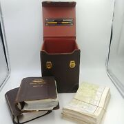 Vintage 1960's Pilot's Leather Map Box Jeppesen Manuals And Midwest Charts