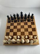 Queen's Gambit Vintage Hand Carved Mexican Bone Pulpit Chess Set W/ Board 50's
