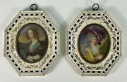 Antique French Miniature Paintings Pair Signed And Beautiful
