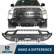 Hooke Road Front Bumper Bar W/winch Plate And Led Light For Toyota Tundra 14-21