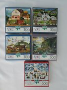 Lot Of 5 Buffalo Charles Wysocki 300 Large Piece Puzzles With Posters