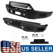 Black Complete Front+rear Bumper Guard For Ford F 150 09-14 Steel+winch