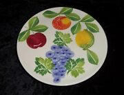 Ceramiche Alfa Fruit Pedestal Footed Cake Plate Hand-painted Italian Pottery