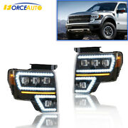 New Led Projector Headlights /wsequential Turn Signal Fits For 09-14 Ford F150