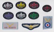 1960's British / United Kingdom - Air Scout Wing, Patrol And Officer Hat Badge Set
