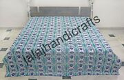 Indian Cotton Bedcover Kantha Quilt Handmade Printed Blanket King Size Throw