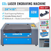 Omtech 60w 16x24in Co2 Laser Engraver Cutter Engraving Machine W. Rotary Axis C