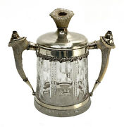 Redlich And Co. Sterling Silver And Cut Glass Antler Twin Handled Jar Cigar Humidor