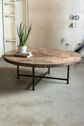 Kalalau The Wooden Material In Wagon Wheel Coffee Table Iron Base Antique Wooden
