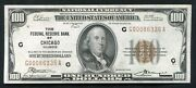 Fr. 1890-g 1929 100 Frbn Federal Reserve Bank Note Chicago Il About Unc