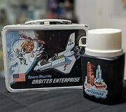 Vintage 1977 Space Shuttle Orbiter Enterprise Metal Lunch Box And Thermos Free S/h