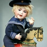 Antique Jumeau Boy Closed Laughing Mouth In Marine Dress W Wooden Rocking Horse