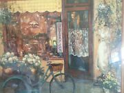 Home Interiors Antiques Picture Print Bicycle Mannequin Store Front 32x26 Homco