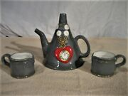 Wizard Of Oz Ceramic Tin Man Hat Teapot And 2 Small Cups