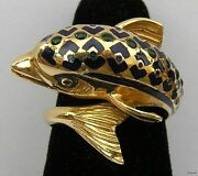 Vintage Signed 18k Yellow Gold Figural Fish Bypass Ring With Green And Blue Enamel
