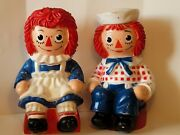 Vintage 1972 Raggedy Ann And Andy Large Plastic Coin Banks Bobbs Merrill