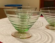 Set Of 3 Watermelon Pink Green Ribbed Serving Size Glass Bowls Desert