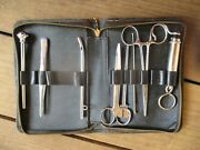 Vintage Penn Usa Chrome Medical Instruments Tools Leather Case Obgyn Antique
