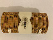 Kate Spade Wicker Patent Leather Trimmed Hand Carry Clutch Bag