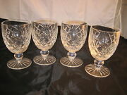 Waterford 4 Crystal Goblets Glasses Footed Snifters Diamond Cut Heavy