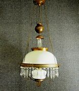 Hanging Oil  Lamp Antique Parlor White Glass Shade Brass Base