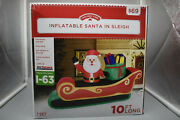 Holiday Time Santa In Sleigh Inflatable 10ft Long Light- Indoor-outdoor Use