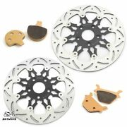 Front Rear Brake Rotors W/ Pads Wide Glide Fxrs Fxrt Super Glide Low Rider 87-99