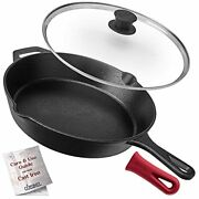 Cuisinel Cast Iron Skillet With Lid - 12-inch Frying Pan + Glass Lid + Heat-res