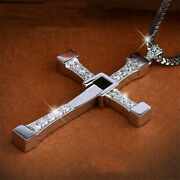 Fast And Furious Dominic Toretto 925 Sterling Silver Cross Pendant Necklace