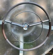 1957 1958 Cadillac Grey/ Brown Steering Wheel W/horn Ring And Crest/medallion