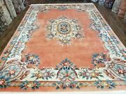 Vintage Chinese Aubusson Area Rug Light Salmon Beige Flowers Plush 8and0393 X 11and039 4