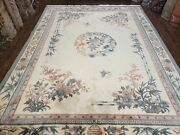 Vintage Chinese Carving Rug 9x12 Pastel Colors Ivory And Teal Butterflies Flowers