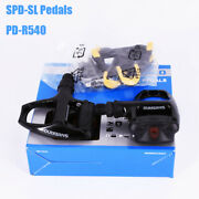 Shimano Spd-sl Pedals Pd-r540 Road Bike Black 9/16 Self-holding And Sm-sh11 Cleats