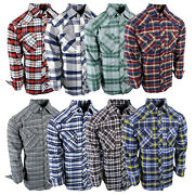 Flannel Plaid Shirt Mens Western Snap Up Pockets Cool New Colors Long Sleeve