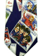 Vintage 1994 Winter Olympics Silk Tie Blue Norway Skiing Stamp Lillehammer Norge