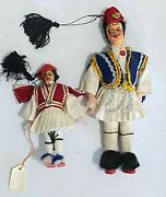 Vintage Greek Greece Tsolias Male Molded Face Doll Set Lot Of 2, 4 And 7 Tall